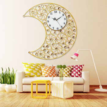 Moon Crystal Diamond Iron Wall Clock Living Room Clock Mute Wall Clock Quartz Clock Wall Clock