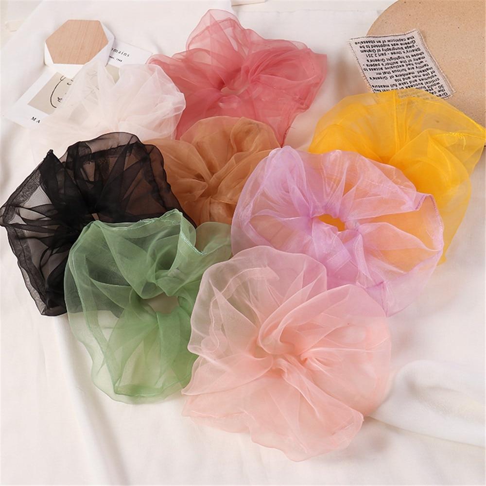 Organza Striped Hair Scrunchie Hair Ring For Girls Ponytail Holders Hair Bands Elastic Hair Accessories Headwear