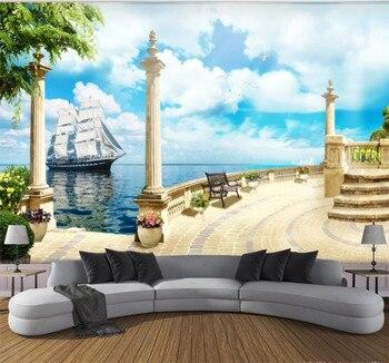 XUESU  Customizable wallpaper 3D/5D/8D waterproof wall covering Roman column balcony sailing boat sea view background
