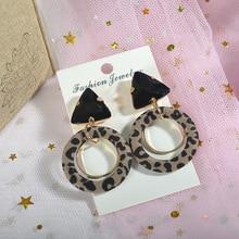 Korean crystal leopard print earrings geometric jewel circles drop jewelry