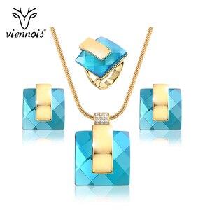 Image 1 - Viennis złoty kolor niebieski kamień kwadratowy Rhinestone kolczyki naszyjnik zestaw biżuterii wesele nowe kobiety biżuteria