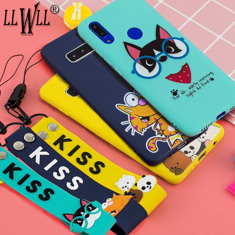 Wrist Belt Cartoon Case For Samsung Galaxy Note 8 9 10 Plus Note 10 Lite Case Silicone Hand Strap Cover For Samsung Note 10 Plus