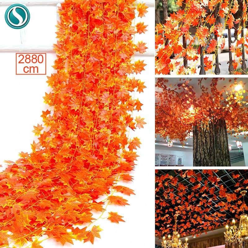 360 folhas de suspensão artificial hera vivívido rattan maple leaf garland planta videira casa casamento decoração do banheiro decoração festa jardim