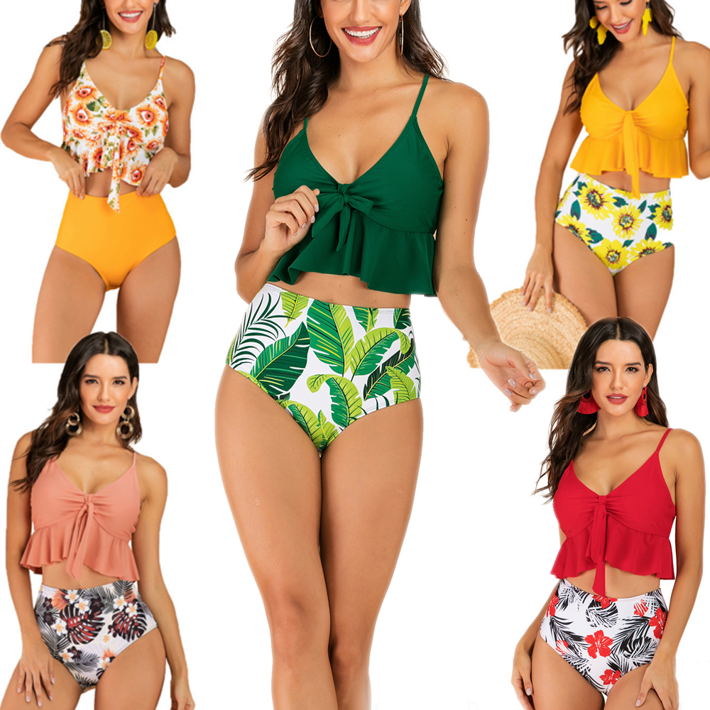 Bikini New Sexy Retro Women Swimwear Push Up Swimsuit High Waist Print Bottom-solid Top Bathing Suits Bikini Set  Plus Size 2XL