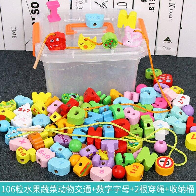Children Threading Building Blocks Large Size Beaded Bracelet CHILDREN'S Boy Educational Wear Beads One Year Old Baby Toy 1-3 Ye