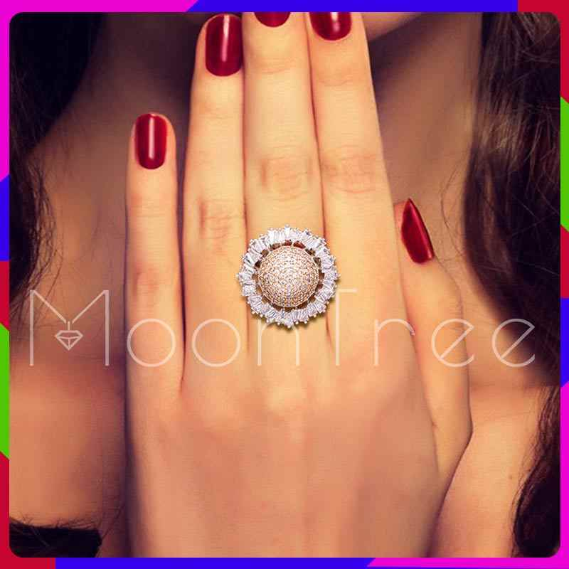 MoonTree 22mm  Luxury Ball Shape Geometry Cubic Zironium Silver Color Engagement Dubai Naija Bridal Resizable Rings