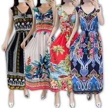 Винтажное женское богемное платье, элегантное пляжное платье Бохо с принтом, новинка 2020, модное свободное платье без рукавов с цветочным рисунком