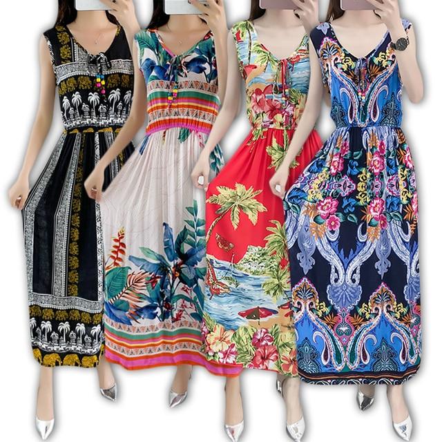 فستان نسائي صيفي بوهيمي كلاسيكي فستان شاطئ بوهو أنيق فساتين مُزينة بطباعة 2020 موضة جديدة فستان فضفاض بدون أكمام مقاس كبير