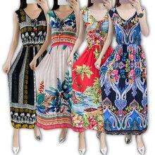 בציר נשים הקיץ בוהמי שמלת חוף Boho אלגנטי מודפס שמלות 2020 חדש אופנה פרח רופף בתוספת גודל שרוולים שמלה