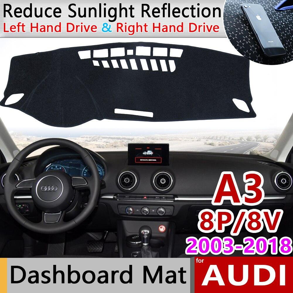 Pour Audi A3 8p 8v 2003 2018 Tapis Anti Derapant Tableau De Bord Couverture Pad Parasol Dashmat Tapis Anti Uv Proteger Accessoires De Voiture S Line S3 Aliexpress