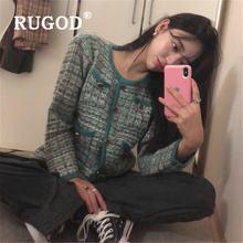Женский однобортный Кардиган с круглым вырезом rugod корейский