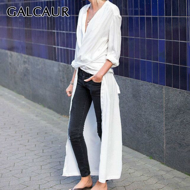 GALCAUR 캐주얼 스플릿 느슨한 여성용 블라우스 긴 소매 우아한 미디 셔츠 탑 여성 패션 의류 2020 조수 가을 빅 사이즈