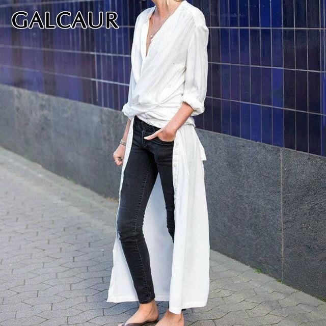 GALCAUR Casual Split Lose frauen Bluse Langarm Elegante Midi Tops Weibliche Mode Kleidung 2020 Flut Herbst Große größe