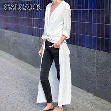 GALCAUR عارضة سبليت فضفاض المرأة بلوزة طويلة الأكمام أنيقة ميدي قميص بلايز الإناث ملابس عصرية 2020 المد الخريف حجم كبير