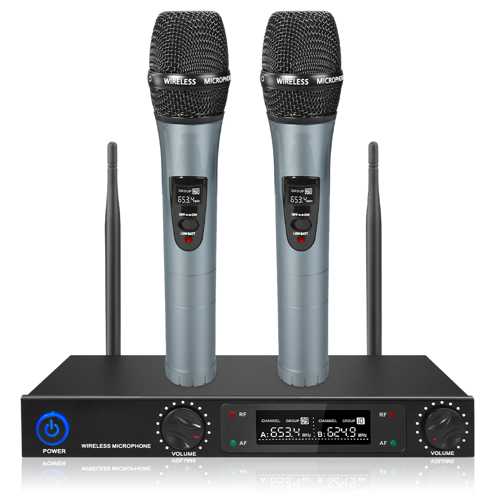 Handhelds UHF Wireless Microphone 2 Channel Lithium Battery UHF Professional Mic for Party Stage Home KTV Set 30M Receive