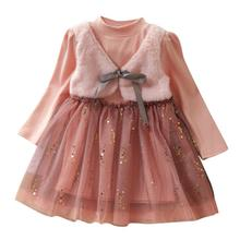 New Cute Casual Autumn Baby Girls Long Sleeve Fake 2 Piece Dress Kids Patchwork Kids Princess Mesh Dresses For 2-8T autumn winter girls princess mini dress kids baby girls party wedding pageant long sleeve sweater dresses cute ball kids costume