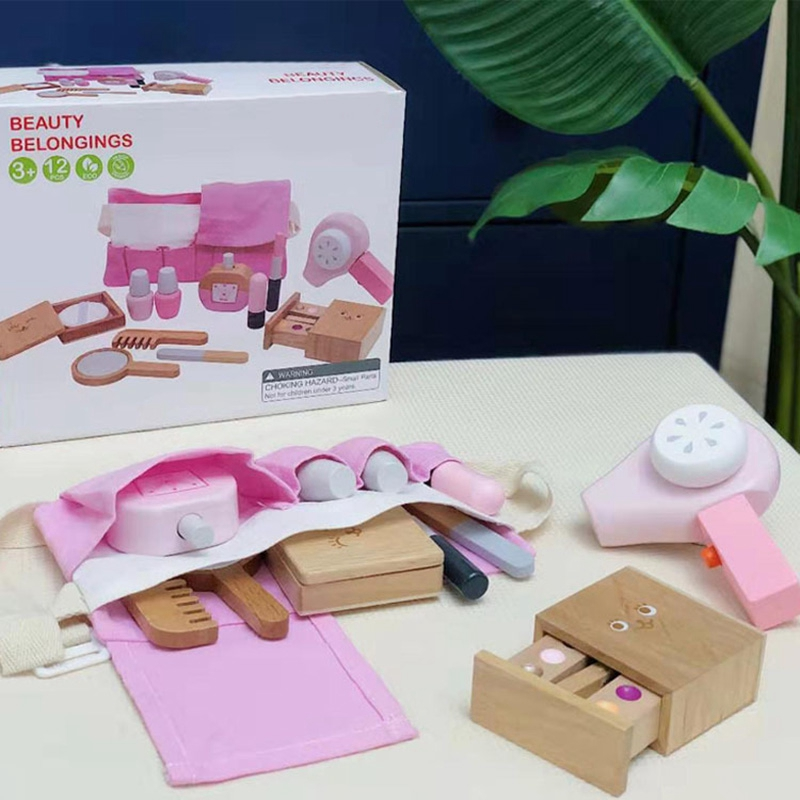 12Pcs Kit Wooden Beauty Salon Pretend Makeup Playset Toy Role Play Cosmetics Toy Simulation Beauty Accessories for Kids