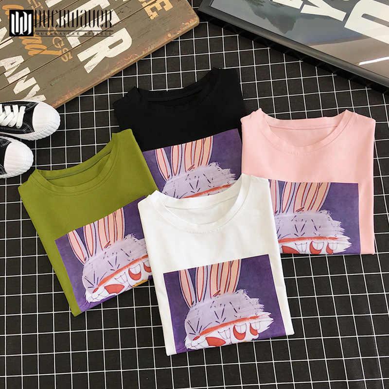 Duckwaver/Летняя футболка для девочек с мультипликационным принтом «Rubbit», размер 90 s, милая дышащая мягкая женская футболка, эстетическая Базовая футболка, топы