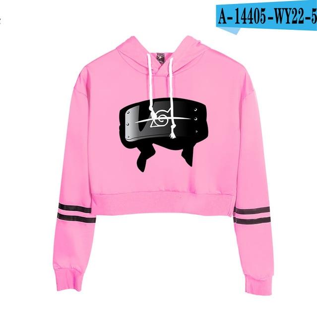 Now United Crop Top Hoodies Harajuku Japanese Anime Uzumaki Printed Hoodie Women Streetwear Fashion Cropped Sweatshirt Coat 14