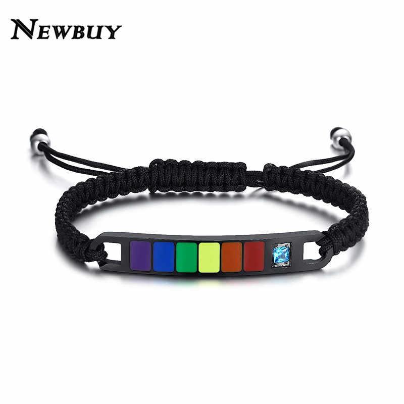 NEWBUY браслеты радужного цвета для женщин мужской ручной Плетеный Браслет цепочка