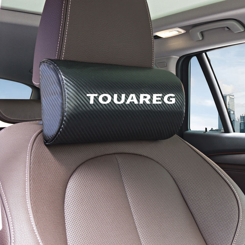 1pcs Car Neck Pillows Both Side Pu Leather Single Headrest Case For Volkswagen VW TOUAREG Polo Tiguan Accessories Car Styling