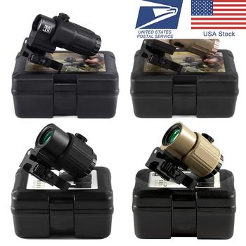 G43 Sight Airsoft 3X Magnifier G33 With Switch to Side Quick Detachable QD Mount For Hunting Black Apply Red dot 552 553 558 tactical 1x red dot sight scope 3x magnifier with picatinny rial side flip mount base tan m1243