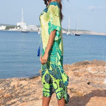 Cotton Long Beach Dress Robe de Plage Swimwear Women Cover ups Tunic Pareo Beach Cover up Kaftan Beach Saida de Praia Beachwear 2