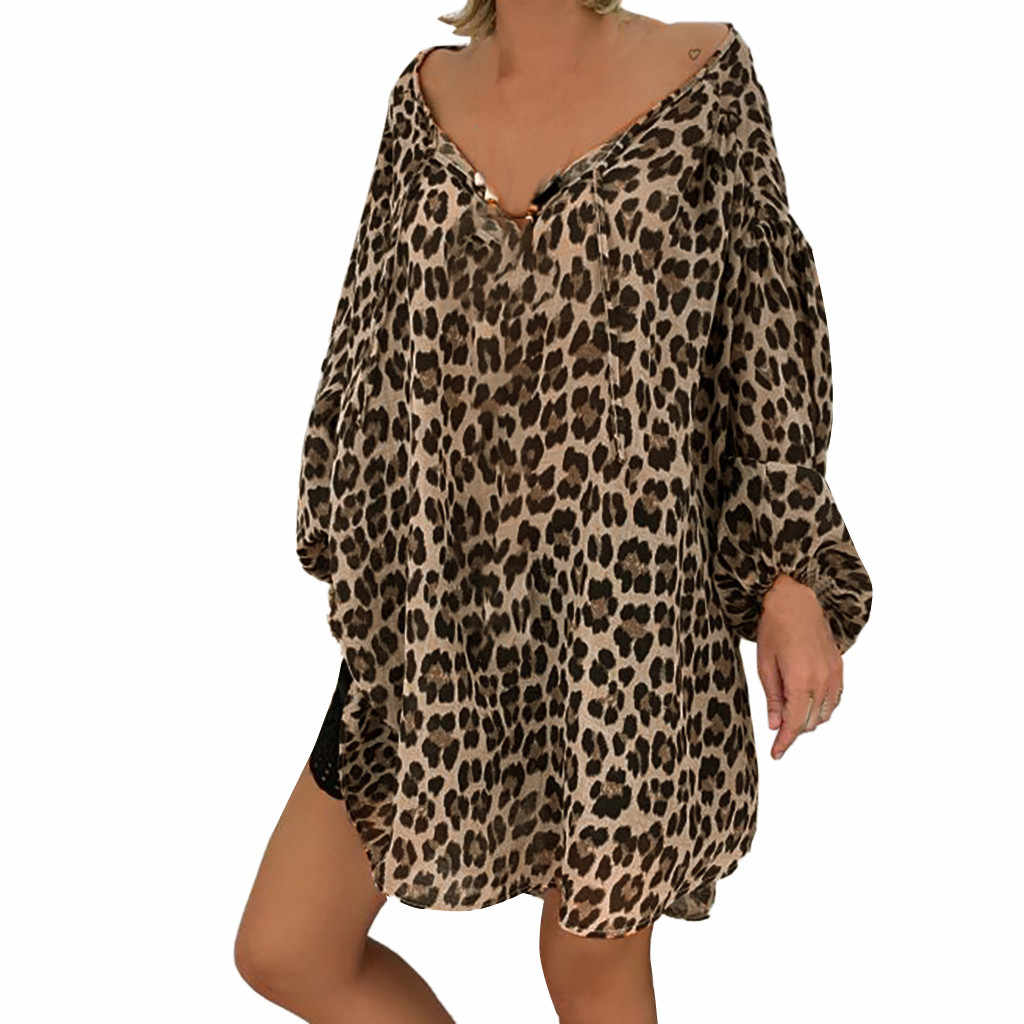 Womens Plus Size Long Sleeve Blouse Vintage Leopard Printed Lapel Collar Shirts Casual Loose Button Down V-Neck Tunic Tops