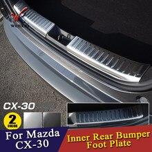 Palte de pés traseiros para mazda CX-30 2020 2021, acessórios de proteção para carro
