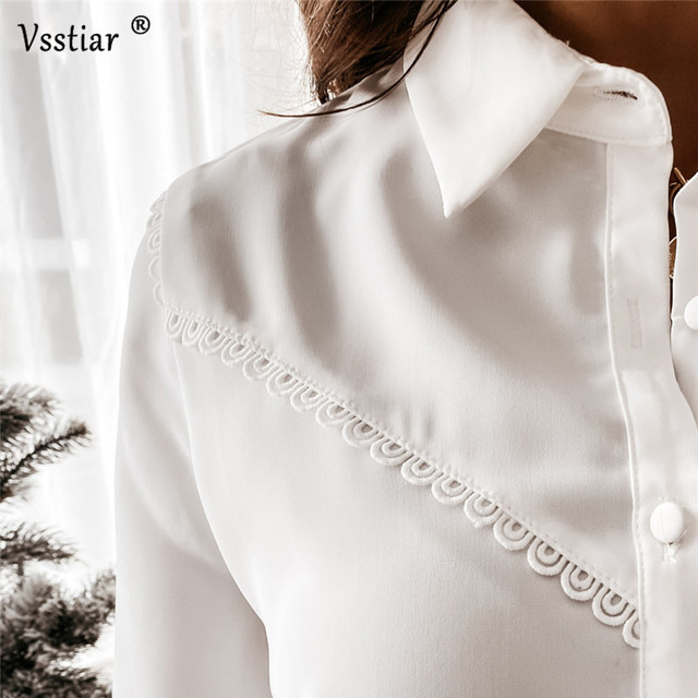 Long Sleeve Lace Blouse Sexy Office Ladies Tops Elegant Patchwork Solid Casual Shirt Plus Size White Black 2021 New Clothing 4