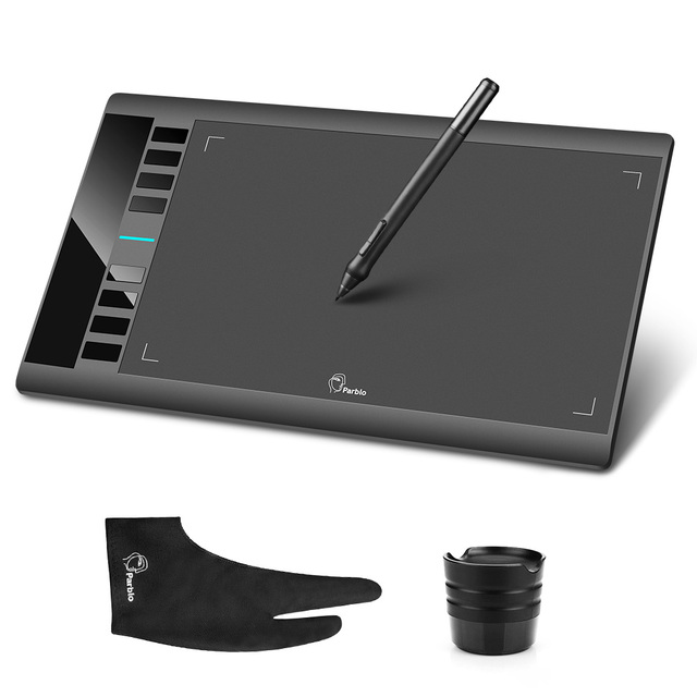 """Original Parblo A610 Digital Graphics Drawing Tablet Rechargeable Pen  10x6"""" Art Tablet Painting 5080LPI with Glove as Gfit"""