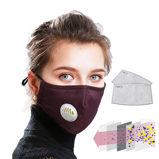 Anti Pollution PM 2.5 Mouth Mask Dust Respirator Washable Reusable Masks Cotton Unisex Mouth Activated carbon filter mask 2