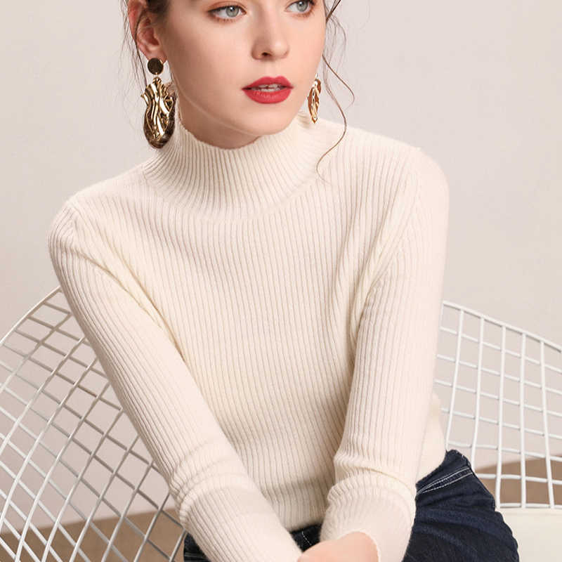 Deruilady 2019 Musim Gugur Baru Wanita Turtleneck Sweater HITAM PINK Rajutan Slim Sweater Tops Musim Dingin Kasual Sweater Jumper Top