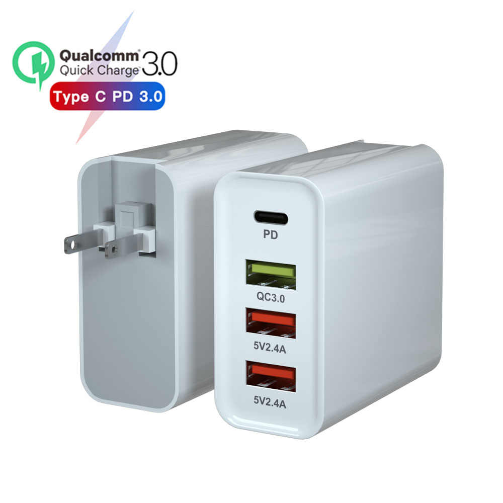 20 V/3A 65W PD Charger untuk Macbook Apple Xiaomi Huawei FCP QC 4.0 3.0 4 Port Cepat pengisian USB Charger Adaptor 9 V/2A US/EU