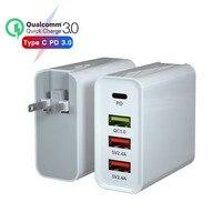20 в/3A 65 Вт PD зарядное устройство для macbook apple xiaomi huawei FCP QC 4,0 3,0 4 порта быстрое устройство для зарядки адаптера 9 В/2A США/ЕС