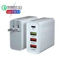20 V/3A 65W carregador para macbook apple xiaomi huawei FCP QC PD 4.0 3.0 portas fast 4 adaptador de carregador de carregamento USB 9 V/2A EUA/UE