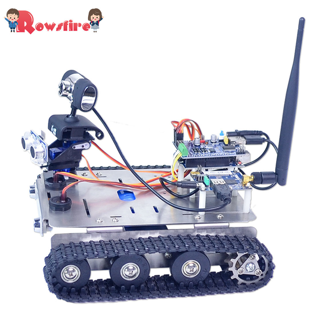 DIY Wifi + Bluetooth Stainless Steel Chassis Track Tank Steam Educational Car With Graphic Programming XR BLOCK Linux Toys