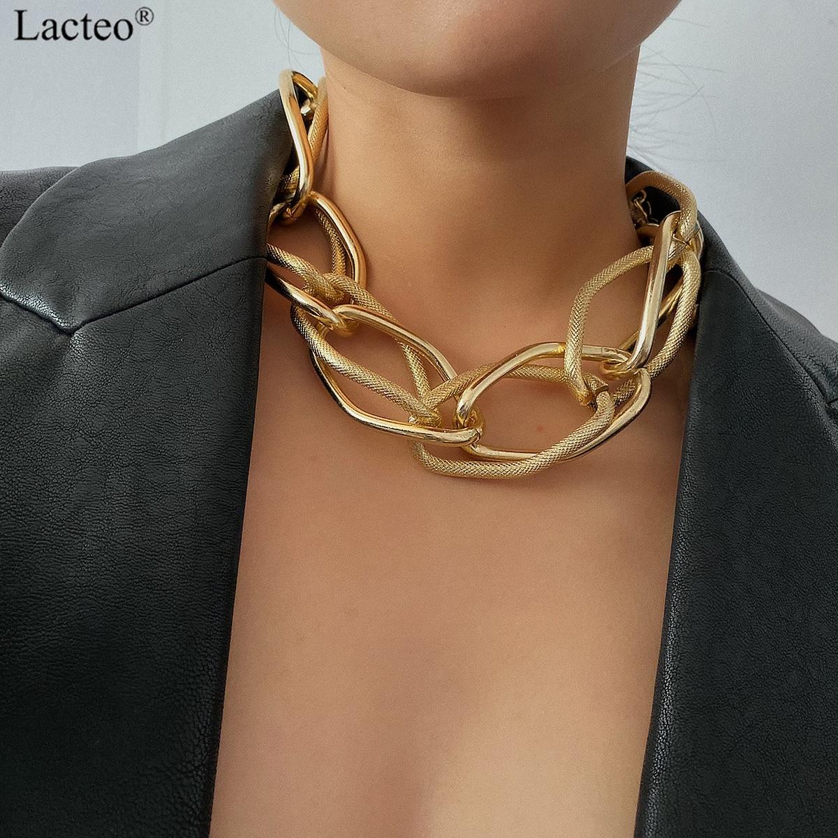 Lacteo, панк, многослойная золотая цепочка, колье, ожерелье, ювелирное изделие для женщин, хип хоп, большая толстая массивная цепочка на шею, Очаровательное ожерелье|Ожерелья-чокеры| | - AliExpress