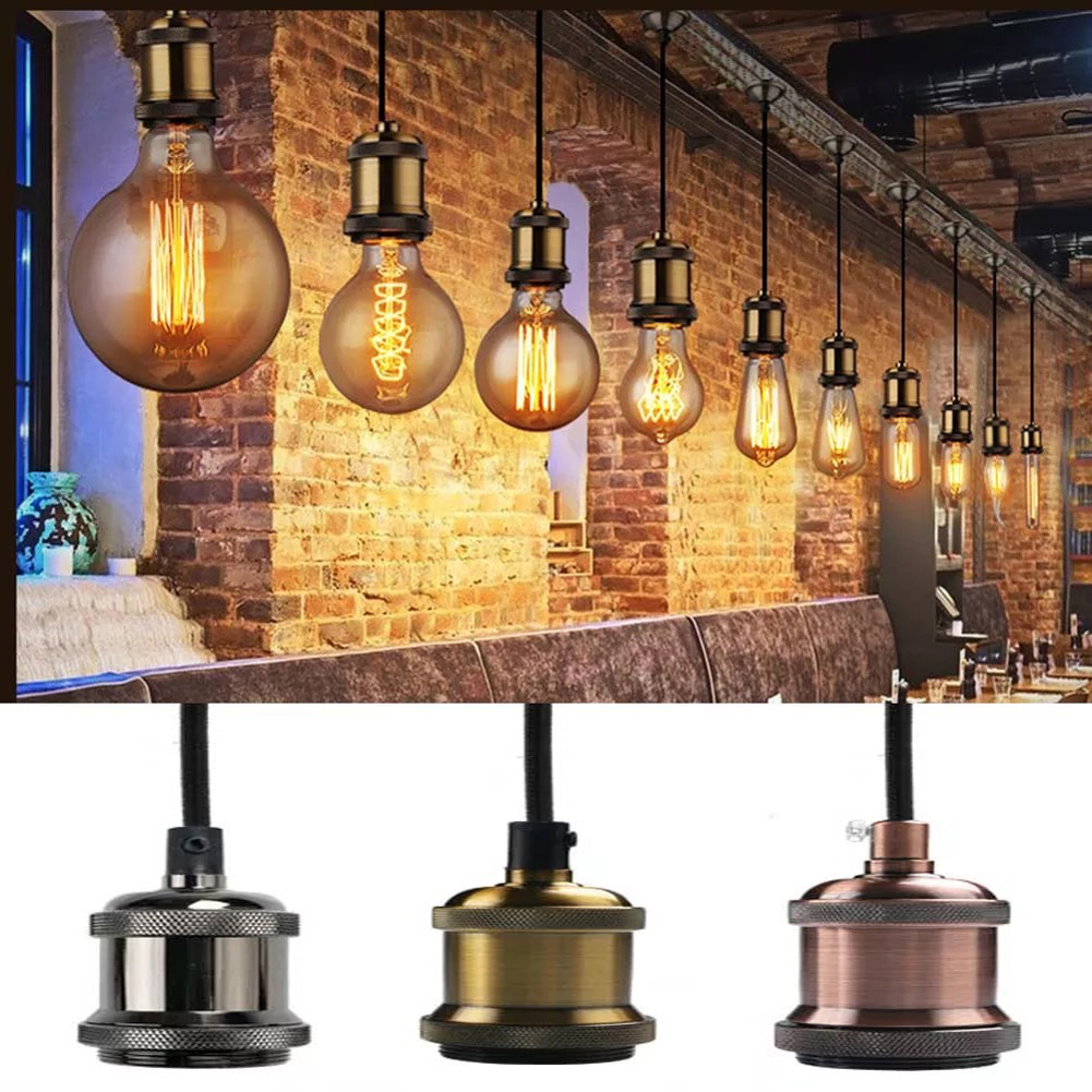 E27 Ceiling Lamp Bulb Holder Socket Base Hanging Fitting Home Lamp Shade Of Iron Ancient Ways Lamp Holder For Chandelier Head