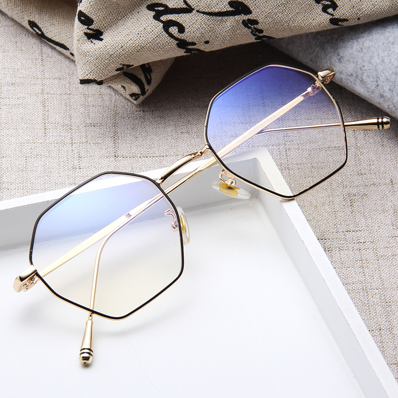 Vintage Irregular Polygon Glasses Metal Frame Blue Light Blocking Eye Glasses Personality Clear Lens Eye Protection Phone Game