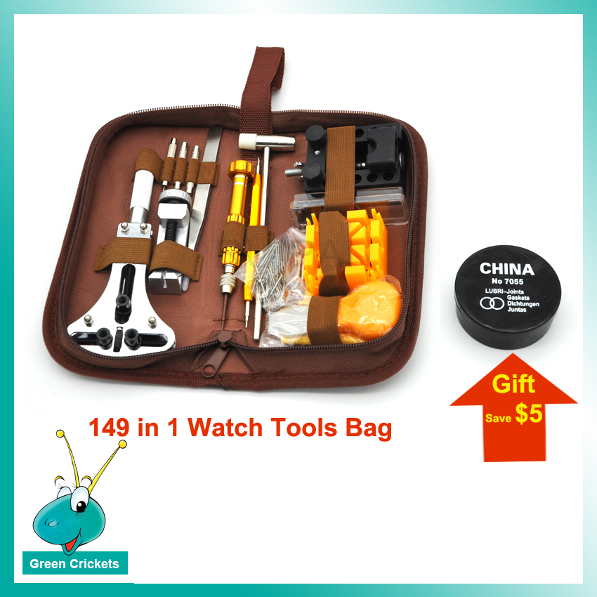 149 in 1 Watch Tool Bag Professional Watch Case Opening Tool Watchband Adjust Tools Kit with O ring Waterproof Sealing oil gift