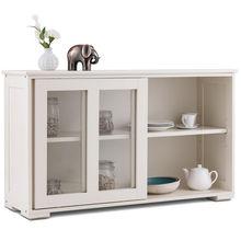 Costway Storage Cabinet Sideboard Buffet Cupboard Glass Sliding Door Pantry Kitchen New