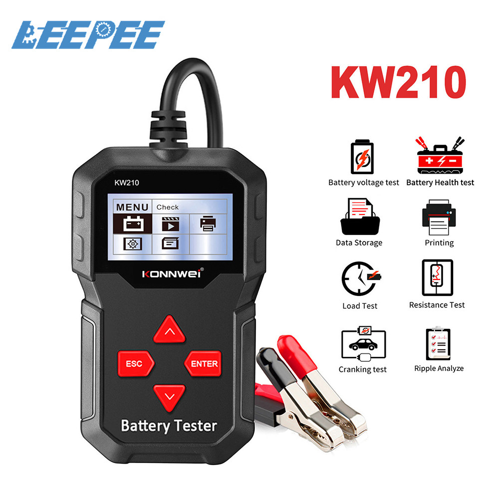 100 to 2000CCA Cranking Car Battery Tester Automatic Smart  Auto Battery Analyzer  KW210 12V Battery Tester Newest Upgrade Free