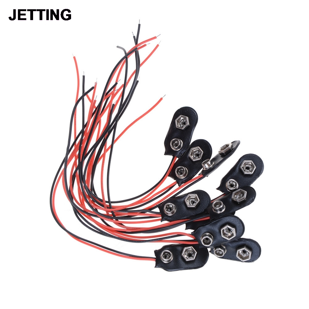 Permalink to 10pcs 9V Battery Clips 15cm Black Red Cable Connection Connector Buckle