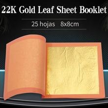 Edible Gold Leaf Real Gold Foil 25pcs/Per Booklet 22K Pure Gold Leaf Sheet 92% Gold 8 X 8cm for Cake Decoration