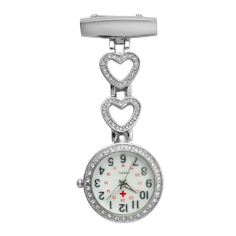 Fashion Pendant Hang Quartz Clock Nurse Watches Women Pocket Watch Clip-on Heart For Medical Doctor Nurse Watches