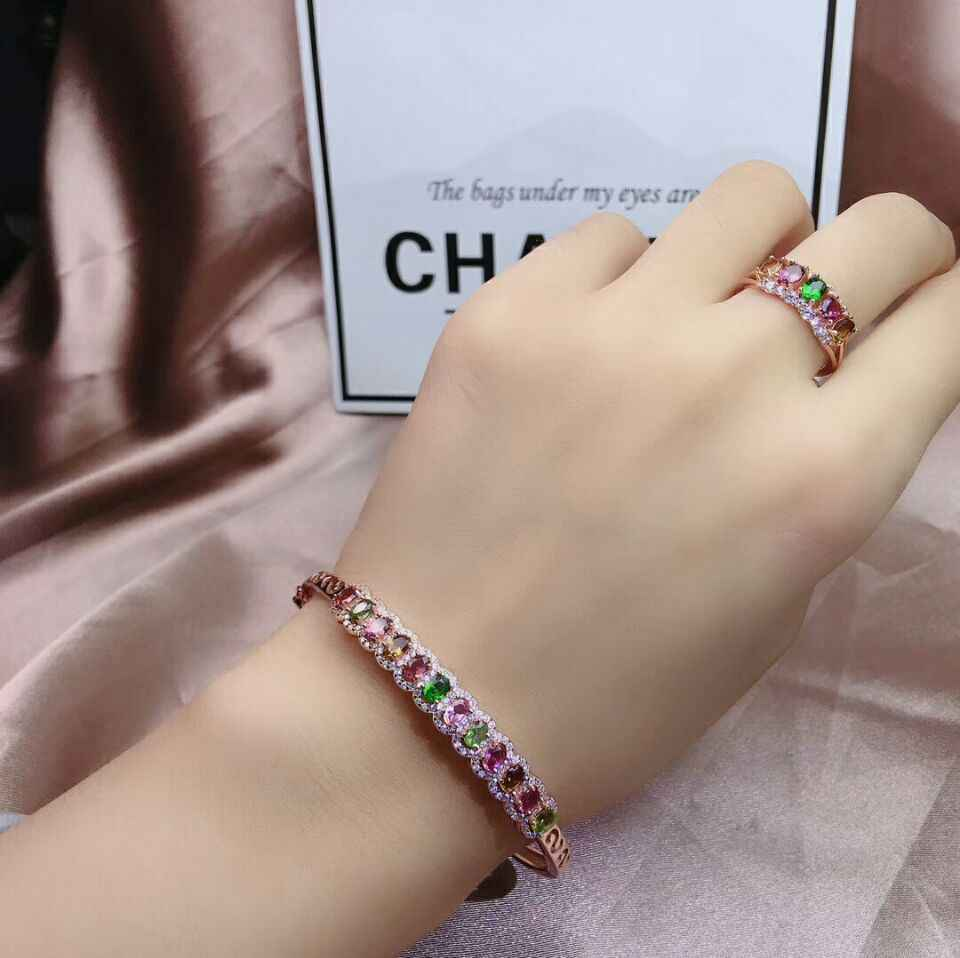 MeiBaPJ 925 Sterling Silver Natural Colorful Tourmaline Gemstone Bracelet Ring for Women Fine Wedding Jewelry Set
