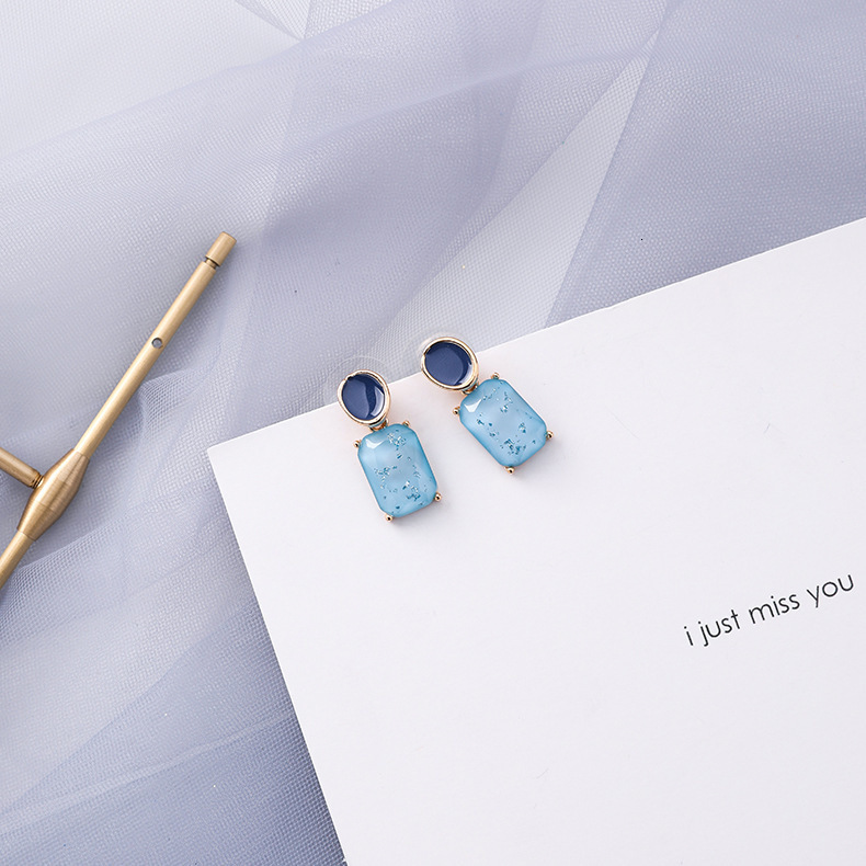 Summer Blue Geometric Acrylic Irregular Hollow Circle Round Square Drop Earrings for Women Metal Bump Party Beach Jewelry 35
