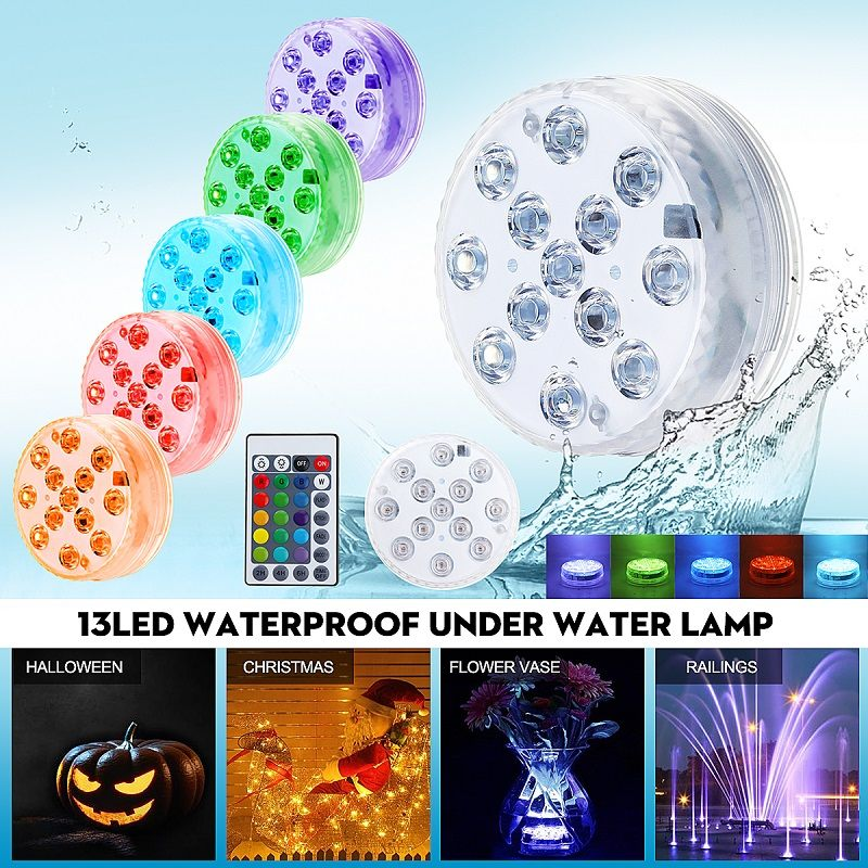 13Led Remote Controlled RGB Submersible Light Battery Operated Underwater Night Lamp Outdoor Vase Bowl Garden Party Decoration