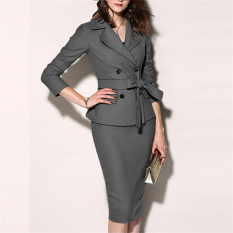 2 Pieces Set Formal Suits Womens Sexy Sheath O-Neck Mini Dress Casual Coat Two Pieces 2019 Office Wear Jacket Dress Sets Blazer